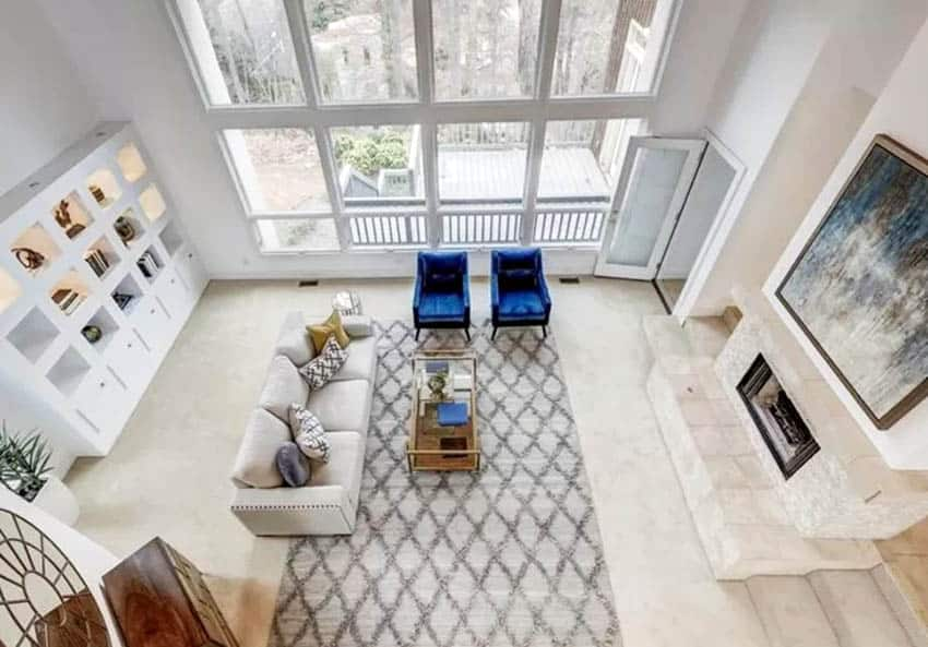Living room with area rug from above