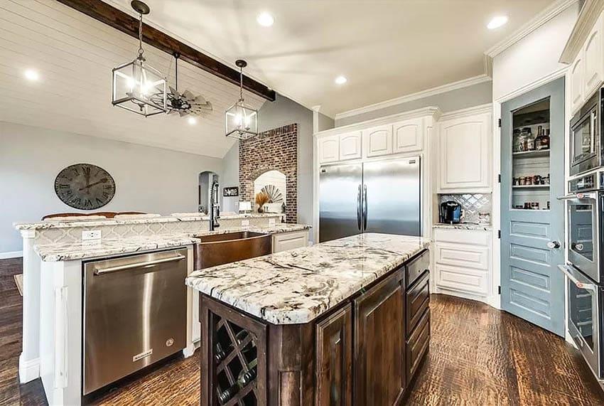 Blue dutch style kitchen pantry door