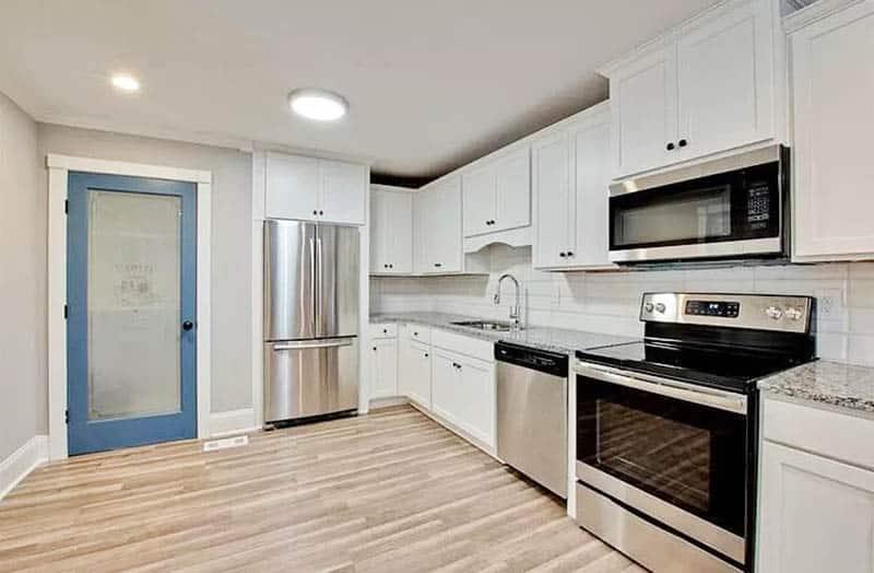 Blue kitchen pantry door