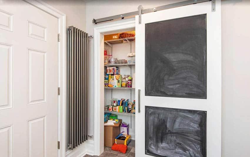 Chalkboard sliding barn door pantry