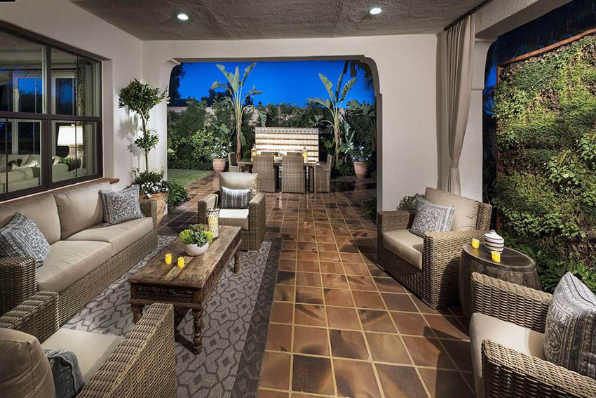 Covered garden patio with outdoor furniture tile flooring