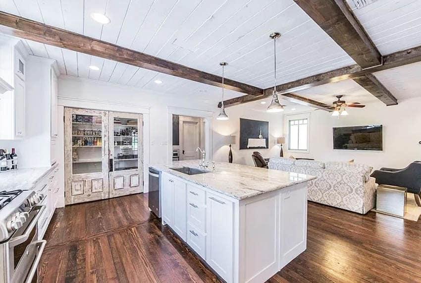 Custom double pantry doors in open concept kitchen