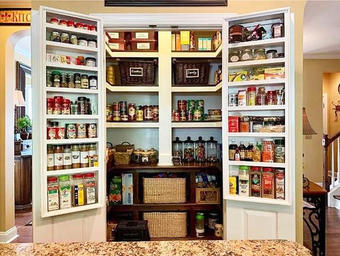 Custom double pantry doors with storage