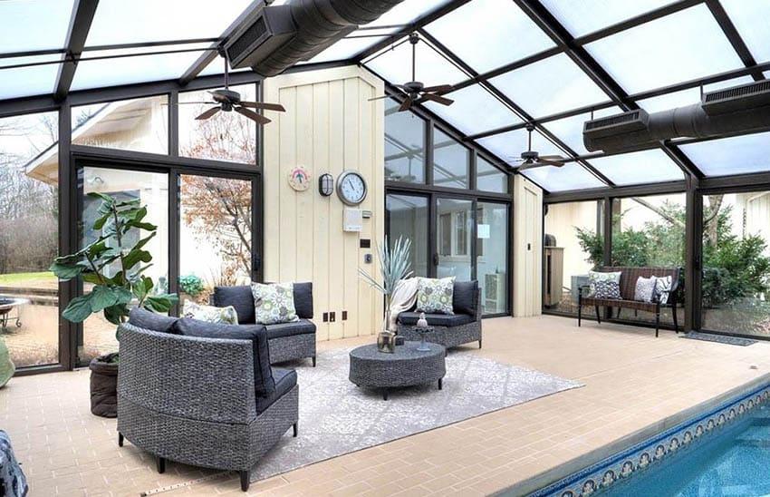 Enclosed patio windows around swimming pool