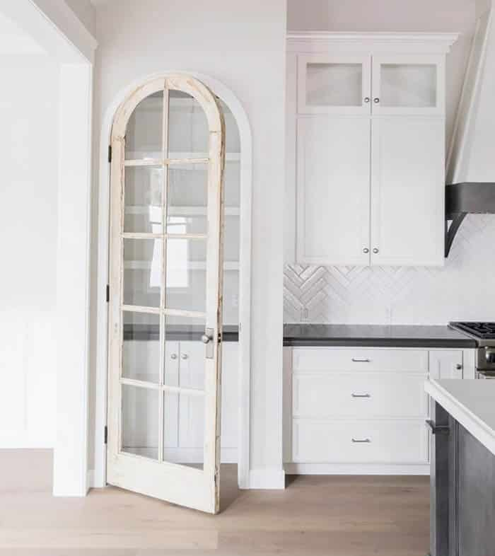 French pantry door with arched design