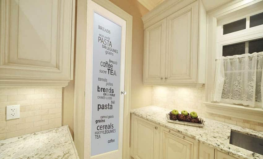 Glass pantry door with writing