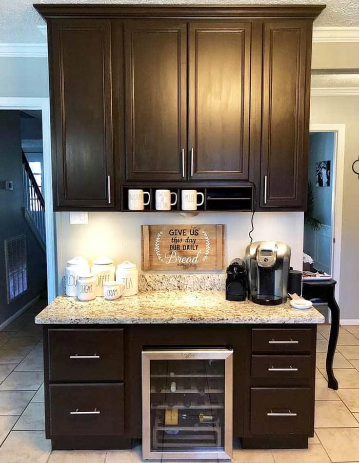 Kitchen coffee bar with wine fridge