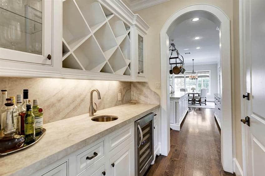 Kitchen home bar with wine fridge built in wine rack glass door cabinets