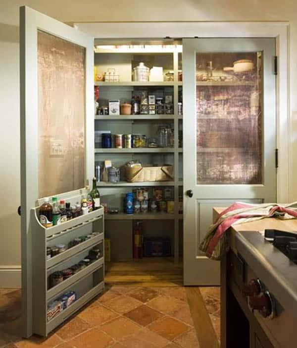 Kitchen pantry screen door with built in storage