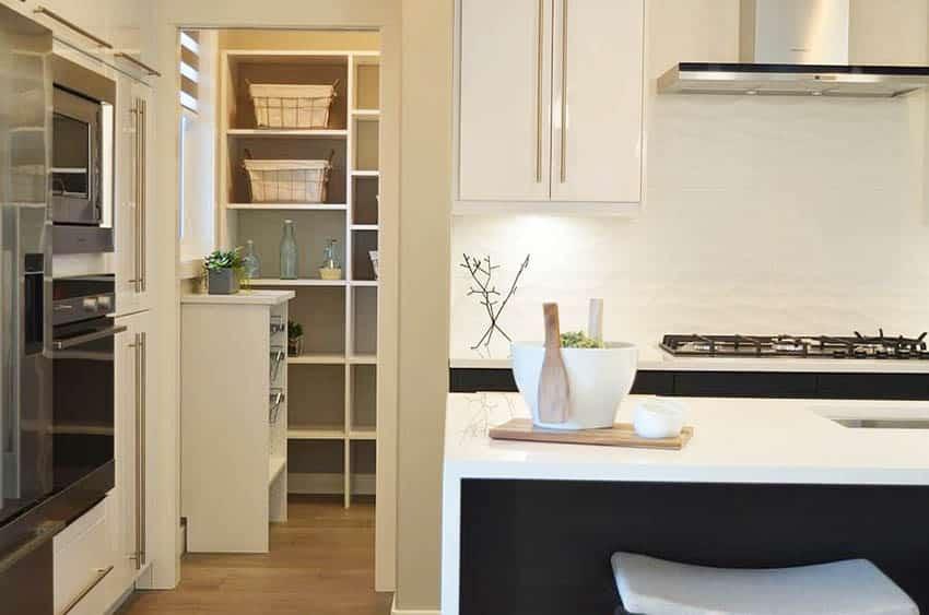 Kitchen pantry with sliding pocket door