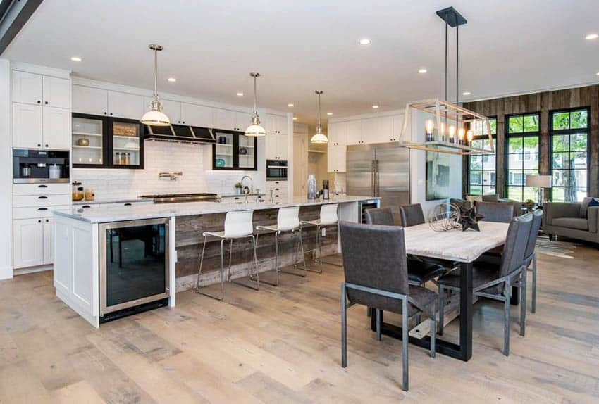 Kitchen table with contemporary lighting and staging decor
