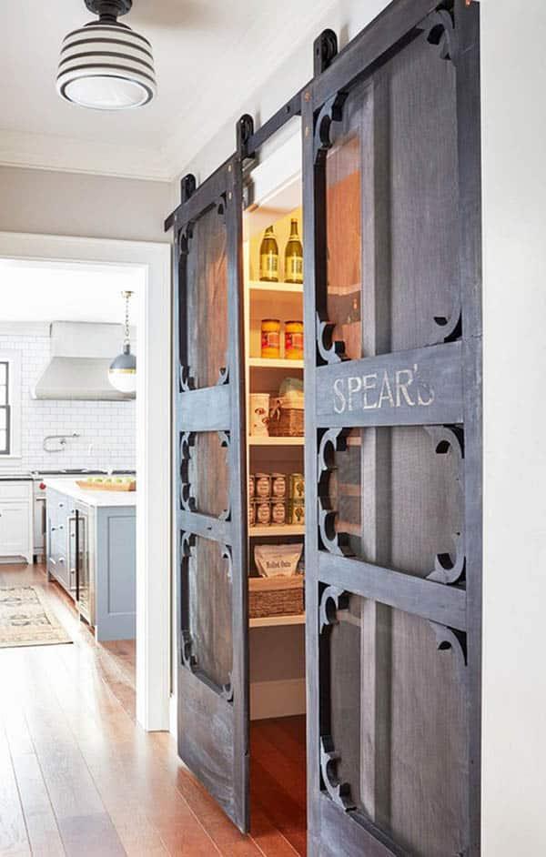 Kitchen with antique pantry door