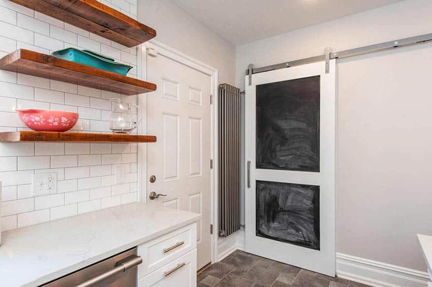 Kitchen with chalkboard sliding barn door