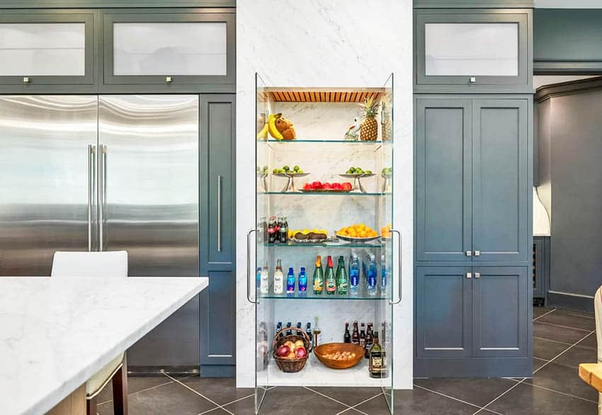 Kitchen with double glass door pantry