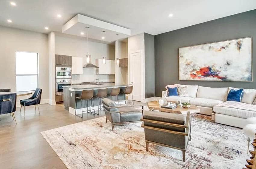 Open concept living room kitchen with complimentary paint colors
