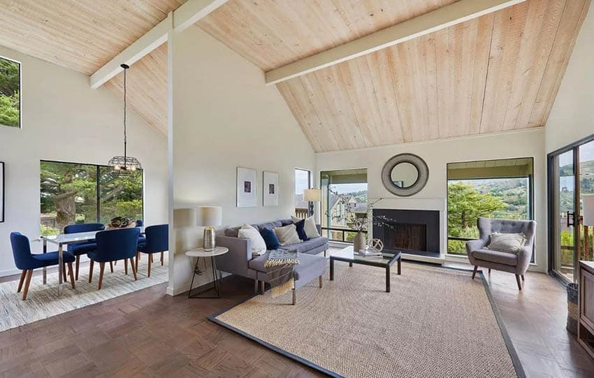 Open concept living room with vaulted ceiling