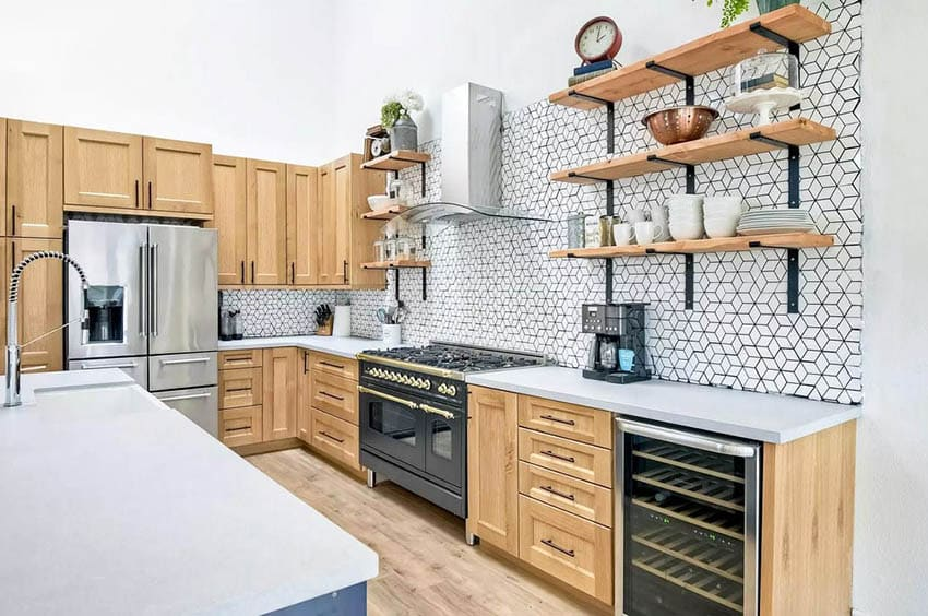 Organized kitchen with open shelving