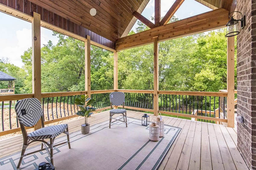 Outdoor patio with wood vaulted ceiling