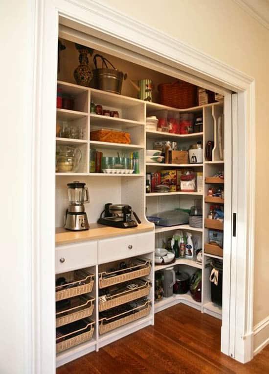 Sliding pocket pantry door