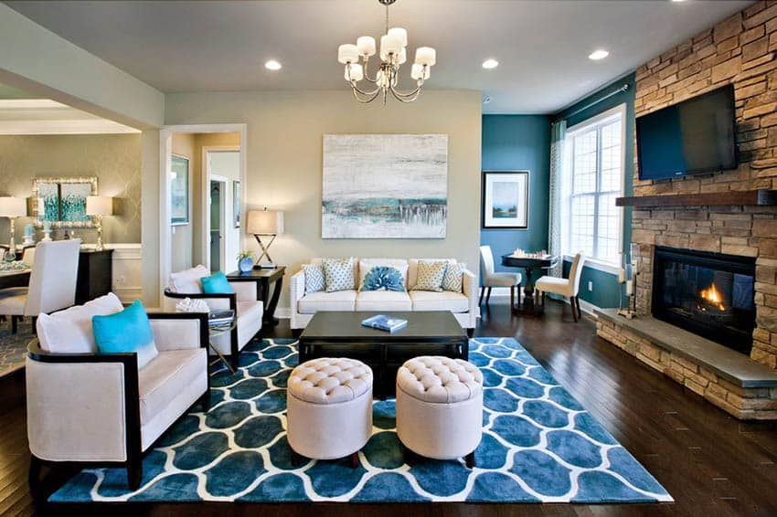 Transitional living room with fireplace and paint color flowing room to room