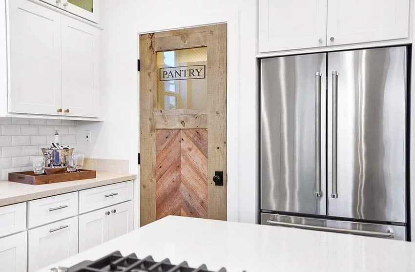 Wood kitchen pantry door with glass window