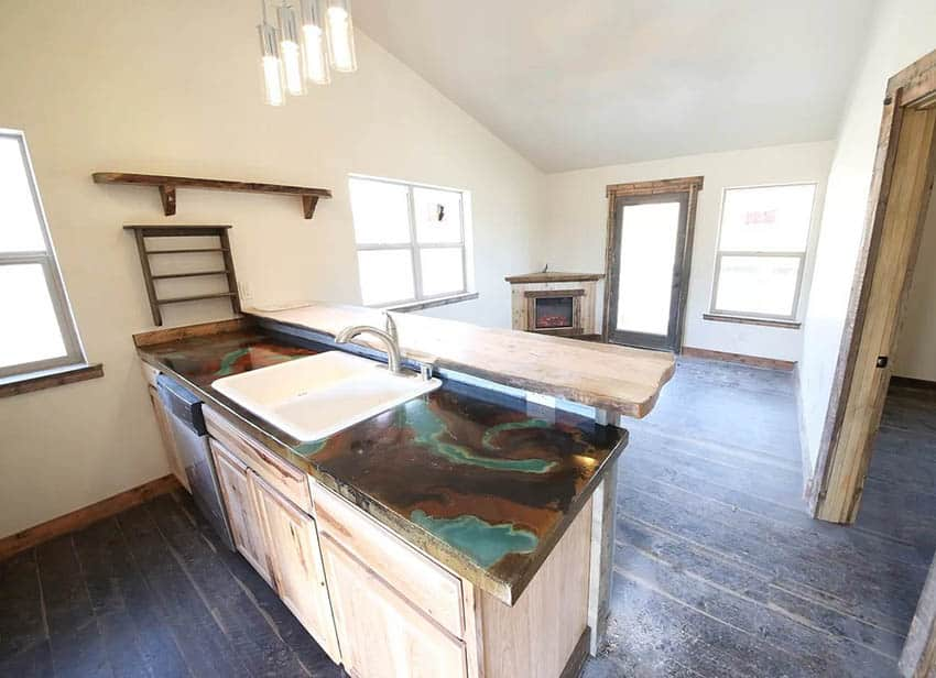 Kitchen with acid stain concrete countertops