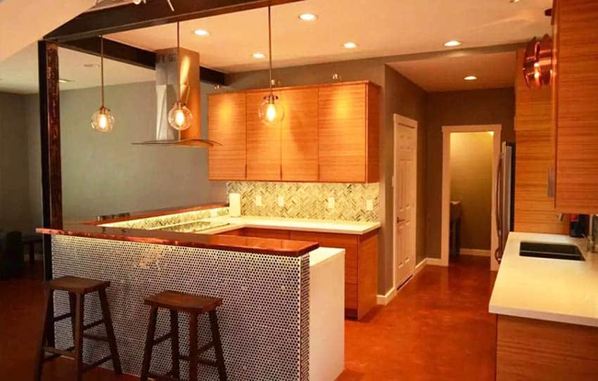 Kitchen with copper countertop breakfast bar