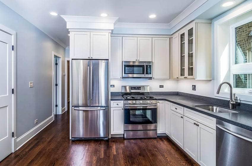 Kitchen with counter depth refrigerator