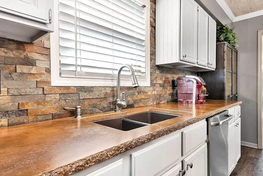 Kitchen with diy stained concrete countertops