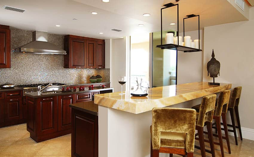 Kitchen with onyx countertops