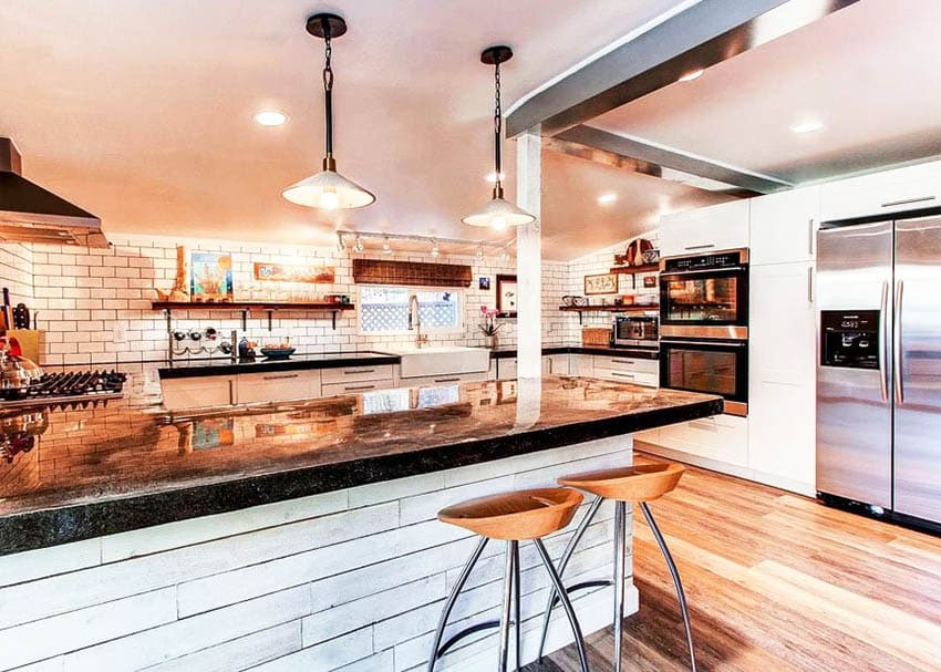 Kitchen with poured polished concrete countertop