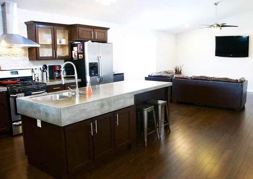 Kitchen with thick diy concrete countertop island