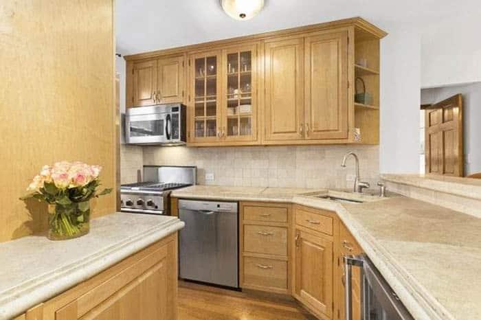 Limestone kitchen countertops in galley kitchen