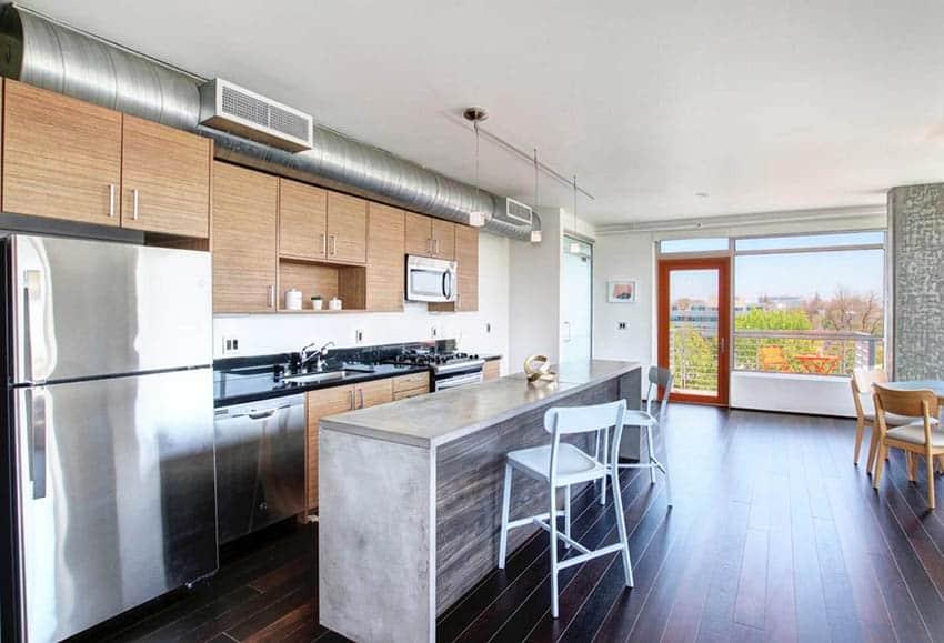 Loft kitchen with concrete countertop island
