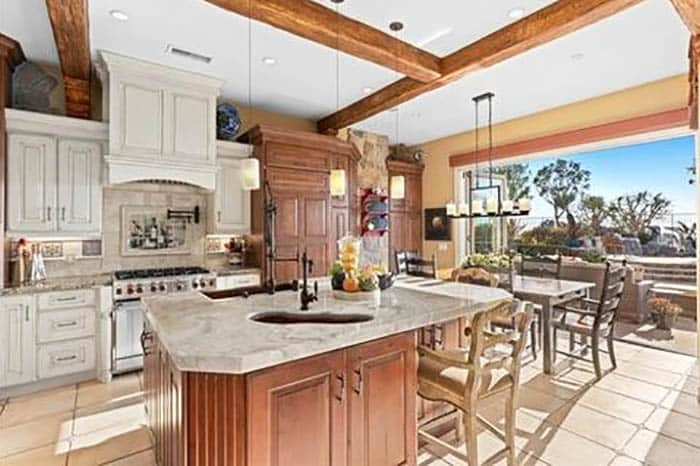 Luxury kitchen with onyx countertops and two types of cabinets