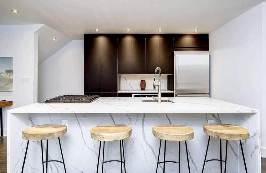 Modern kitchen with cabinet depth refrigerator quartz island