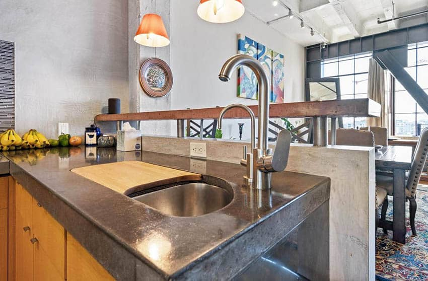 Polished concrete countertops in kitchen