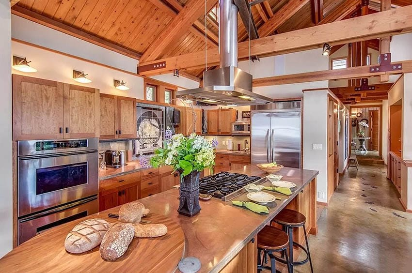 Rustic kitchen design with copper countertops and island