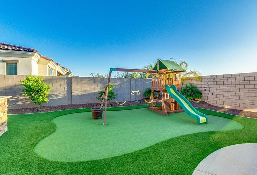 Artificial grass with playground