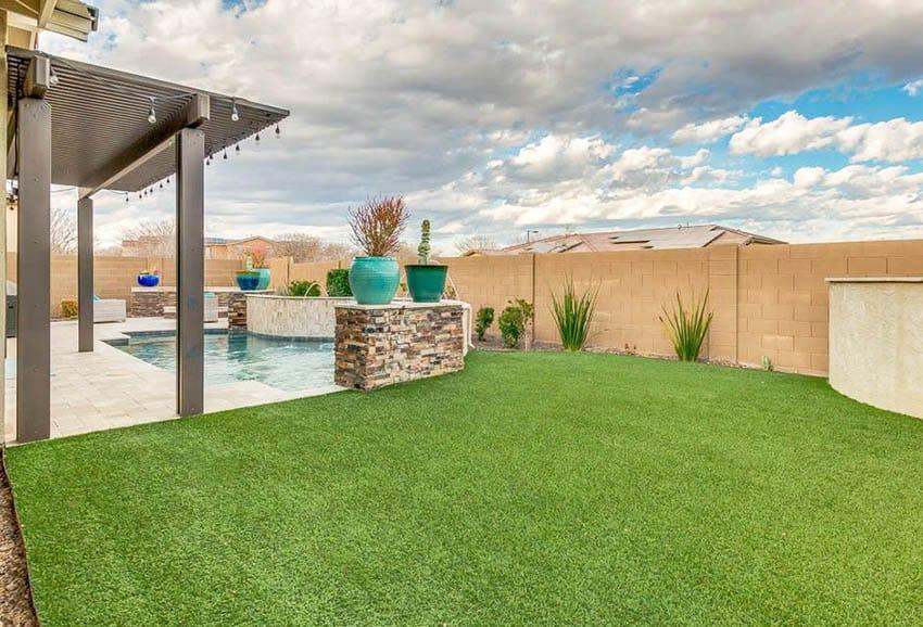 Backyard with artificial grass