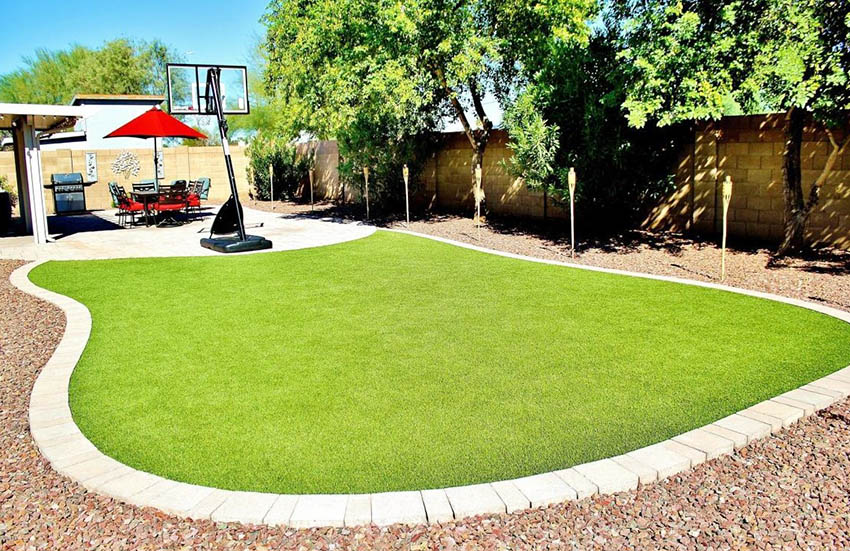 Backyard with artificial turf