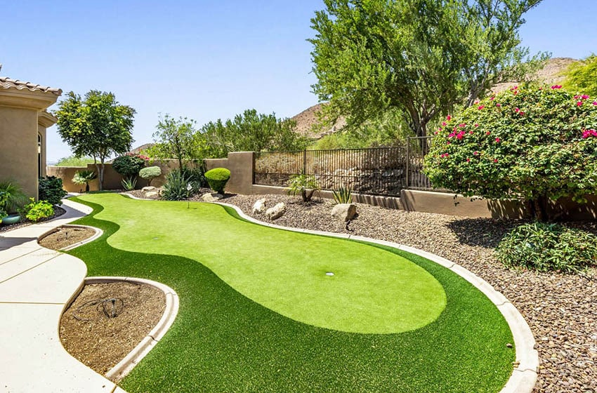 Backyard with custom curved putting green