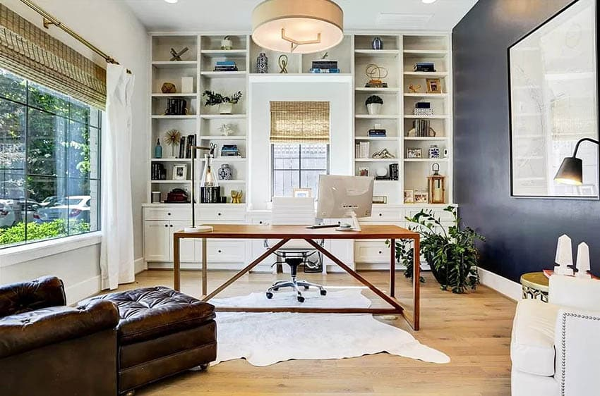 Bright home office with custom built in cabinets with drawers bookshelves