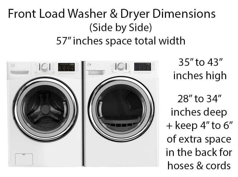 Front load washer dryer dimensions guide