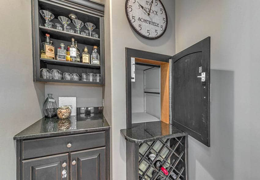 Home bar with dumbwaiter elevator
