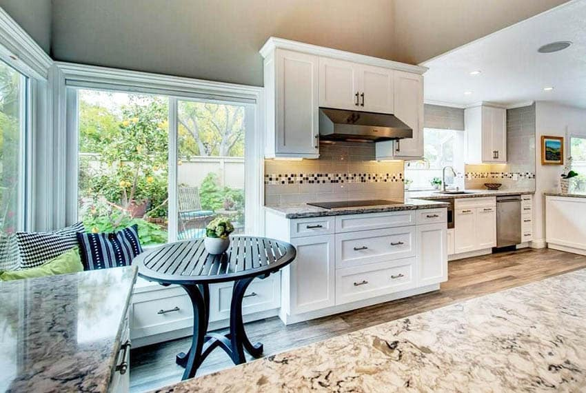Kitchen built in breakfast nook with shaker style and storage