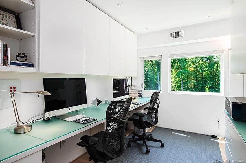 Modern home office with built in desk furniture cabinets