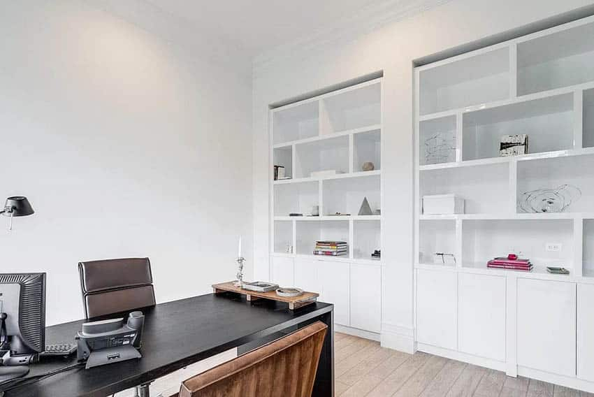 Modern home office with white built in bookcase cabinets