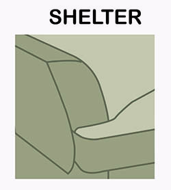 Shelter sofa arm chair style