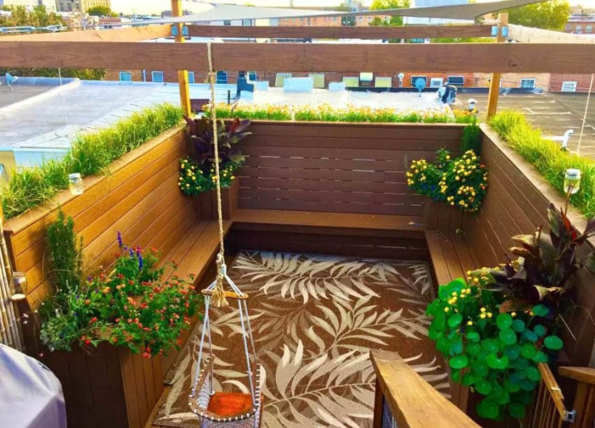 Balcony Deck With Wood Benches And Planter Boxes